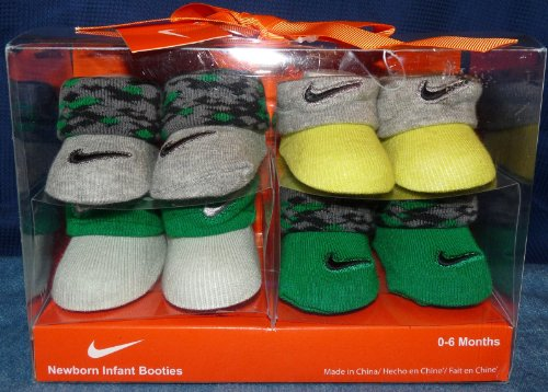 New Nike Baby Booties Crib Shoes Green/Gray, 0-6 Months. 4 Pair.