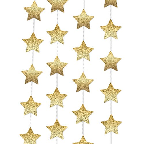Sparkling Gold Paper Star Party Decoration Garland - Set of 4 (5 Meter each) Total 20 meter