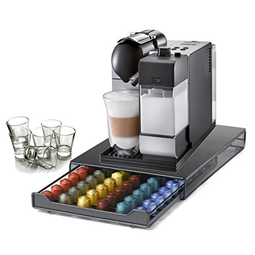 DeLonghi Lattissima Plus Capsule Silver Espresso and Cappuccino Machine with 60 Capsule Storage Drawer and Free Set of 6 Italian Espresso Shot Glasses