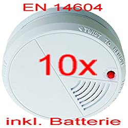 Set of 10, Optical Smoke Alarm with 85 dB Alarm, battery warning, and EN14604 Compliant / Test button operation.