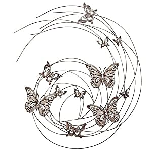 Large Butterfly Swirl Grey Metal Wall Art Feature for Garden or Home