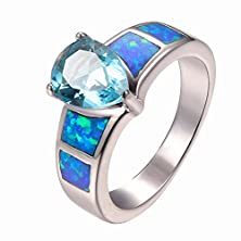 buy Aquamarine Gemstone Blue Fire Opal 925 Sterling Silver Filled Ring Size 8