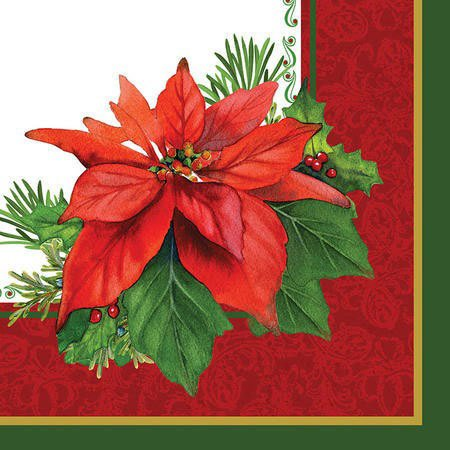 Creative Converting 16 Count Holiday Poinsettia Beverage Napkins