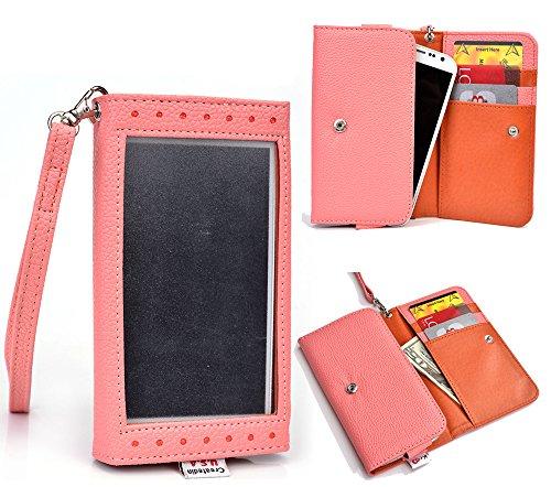 Motorola Moto G (2nd Gen) Compatible Clutch Case Clear Screen W/Strap,Card Slots||Nu Vur Coral