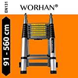 WORHAN 5.6 Meter Double Telescopic Foldable Extendable Multipurpose Aluminium A Frame Ladder Step Ladder K5.6
