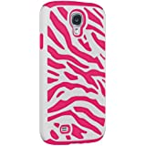 Amzer AMZ95761 Silicone PolyCarbonate Dual Layer Zebra Hybrid Case for Samsung Galaxy S4 GT-I9500 (Fits All Carriers) - 1 Pack - Retail Packaging - White/ Hot Pink