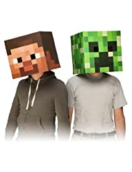 """Official Minecraft 12"""" Steve & Creeper Exclusive Head Costume Mask Set"""
