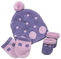 Country Kids Baby-Girls Newborn Dotty Merino Wool Hat Set, Dusky Plum, 0-12 Months