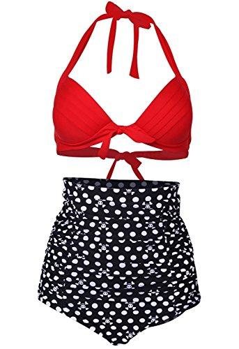 Zando - Pezzo sotto bikini -  donna Red Top/White Dots&Skull XXXXL