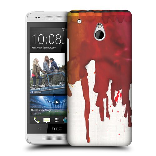 Head Case Designs Red Melted Crayons Protective Snap-On Hard Back Case Cover For Htc One Mini front-52789