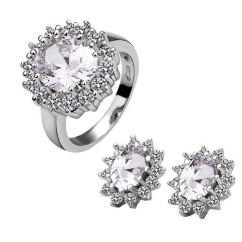 18k Gold Plated Swarovski Elements Crystal CZ Rhinestone jewelry Sets Clear Ring & Earrings
