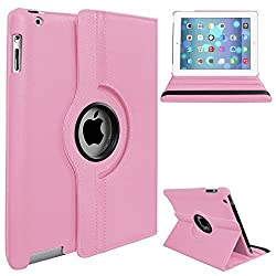 Apple iPad 2/3/4 Case - 360 Degree Rotating Stand Smart Case Cover for iPad with Retina Display (iPad 4th Generation), the iPad 3 & iPad 2 (Automatic Wake/Sleep Feature),(iPad 2/3/4 only)Pink