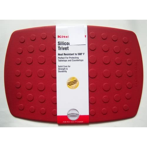 Amazon.com: KitchenAid Red Rectangle Silicone Trivet with solid core