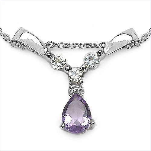 Jewelry-Schmidt-Collier / Necklace with Amethyst and White Topaz 925 Silver-0, 99 carats