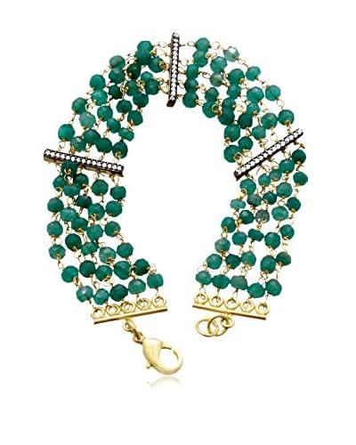 Juinsix 22 Carat Natural Emerald and Cz Bracelet in 18 Karat Gold Overlay