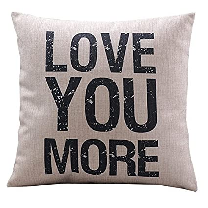"HOSL Cotton Linen Decorative Pillowcase Throw Pillow Cushion Cover Love You More Square 18"" (WHITE, 1)"