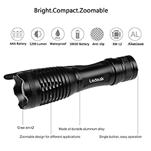 [T6 Upgrade L2] Ledeak 1200 Lumen CREE XM-L2 LED Very Bright Mini Tactical Flashlight Zoomable 5 Modes Water Resistant Lighting Lamp Torch for Camping Hiking Emergency , Bonus Holster Include