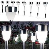 ProBache - Lampe borne solaire led X8 forme tulipe blanche