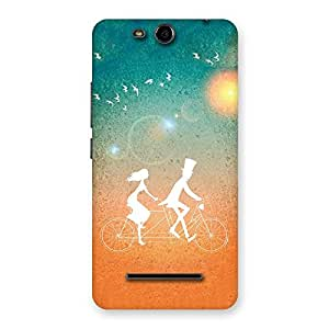 Cute Cycle Couple Dream Multicolor Back Case Cover for Micromax Canvas Juice 3 Q392