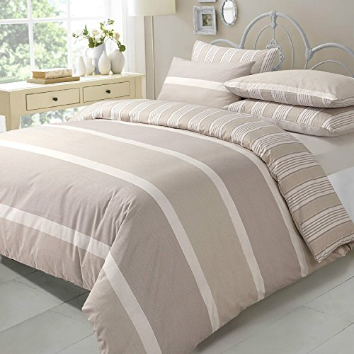 AdamLinens Luxury Duvet Quilt Cover + PillowCases Natural Eve design Double Size by Adams