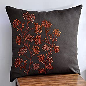 Amazon.com - Throw Pillow Cover, Decorative Pillow Cover, Orange Pillow Cover, Dark Brown Linen ...