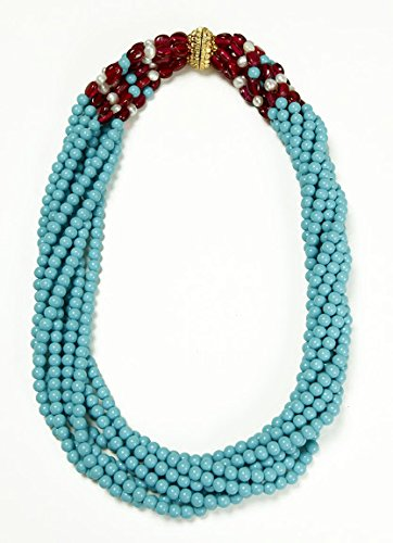 Bead Necklace Costume Faux Turquoise Ruby & Simulated Pearls Multi Strands Designer Jewelry