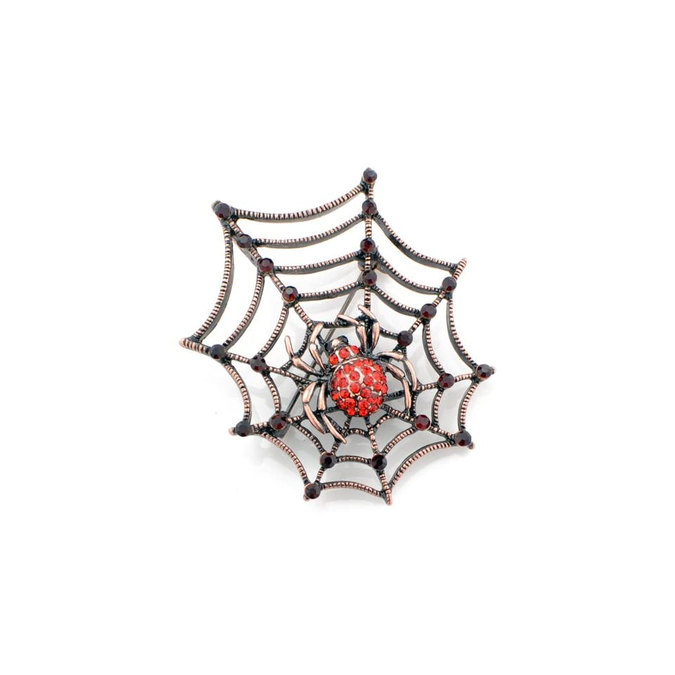 Charlotte Spider Web Austrian Crystal Red Insect Pin Brooch Jewelry