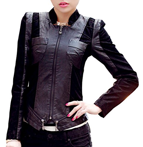 QianYL Women's Plus Size PU Leather Cloth Splicing Zip Up Moto Rider Jackets