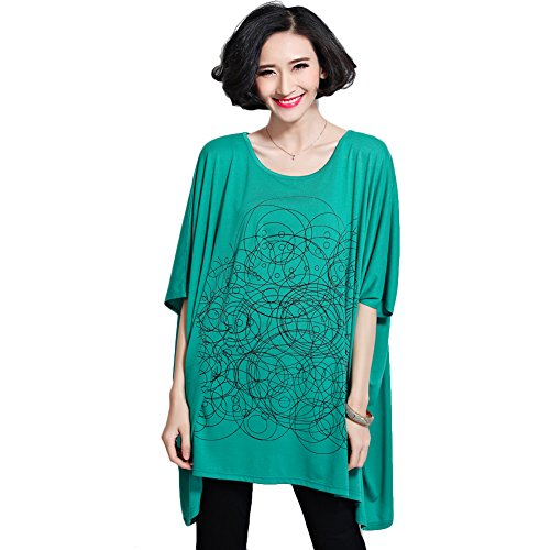 CS&JM Women's Plus Size Doodle Fashion Loose T Shirt Dress Casual Tops