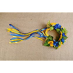 Wreath with Artificial Flowers and Thin Ribbons