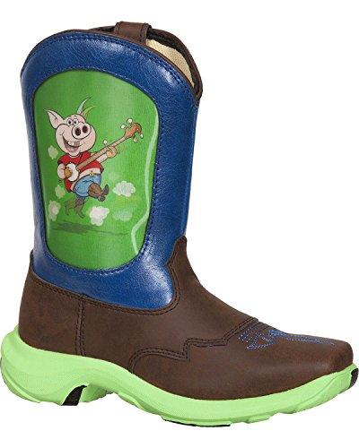 Durango Boys' Pig Lenticular Western Boot Dark Brn US