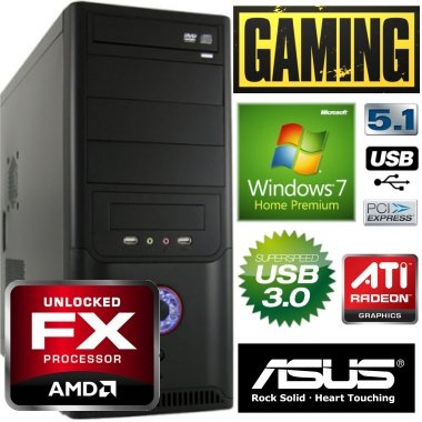 shinobee Gamer PC #4090 AMD FX 6100 Turbo 6x3.70 Ghz | 8GB DDR3 PC-1333 | 1000 GB SATA HDD | ATI Radeon 6870 1024MB RAM | ASUS M5A78L-M | USB 3.0 | 24x ASUS Dual Layer DVD +/- R/RW DVD-Brenner | Microsoft Windows 7 Home Premium 64Bit