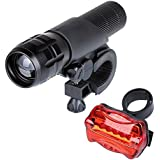 LED Bicycle Bike Light Set with Front and Rear Lights 500 Lumens, 1 Cree Zoom In and Out Headlight, 5 LED Taillight, Great for Mountain & Kids & Street Bicycles, Batteries not Included