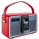 ]IEWQUEST RETRO RADIO DAB+ RED Colour Red Retro DAB Radio with iPod/iPhone Dock Stylish DAB radio with a retro feel Quality red leather surround and handle Retractable iPod/iPhone dock Fits Apple devices with 30-pin connector DAB+ DAB and FM Radio tuner