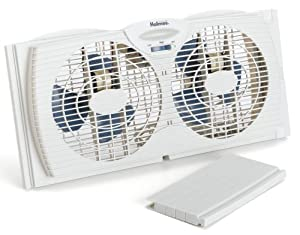 Holmes dual blade twin window fan white home for 12 inch window exhaust fan
