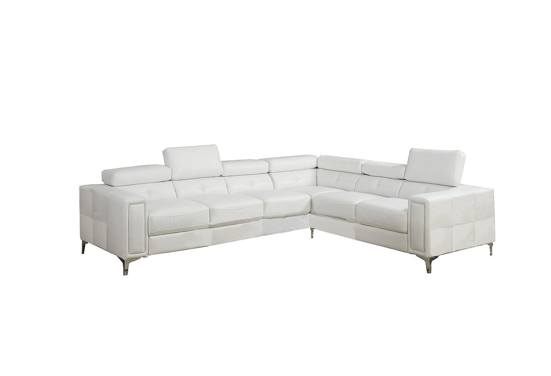 Poundex Bobkona Claxton Bonded Leather Sectional Sofa - White