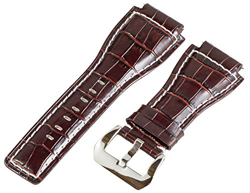 24Mm Brown / White Croco Leather Replacement Watch Band Strap - Made For Bell & Ross