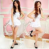 IIHI(イイヒ)高品質かわいいホワイトエンジェルドレスコスチューム/ハロウィン天使と悪魔仮装コスプレ衣装ワンピース翼天使の輪フルセット/レディース女性用フリーサイズ(SMLXL)/ハロウィーングッズ女大人用