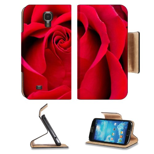 Beautiful Red Rose Petals Samsung Galaxy S4 Flip Cover Case With Card Holder Customized Made To Order Support Ready Premium Deluxe Pu Leather 5 1/2 Inch (140Mm) X 3 1/4 Inch (80Mm) X 9/16 Inch (14Mm) Msd S Iv S 4 Professional Cases Accessories Open Camera