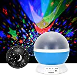 WEDNA Novelty 360 Rotating Galaxy Night Light, Romantic Cosmos Star Moon Sky Projector, Idea Bedroom Lamp for Children and Baby - Calming and Relaxing(Blue)