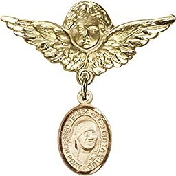 Gold Filled Baby Badge with Blessed Teresa of Calcutta Charm and Angel w/Wings Badge Pin 1 1/8 X 1 1/8 inches