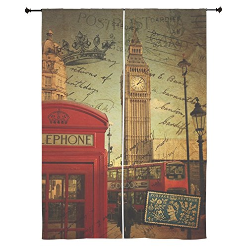 CafePress - London Landmark Red Telephone Booth Curtains - 84