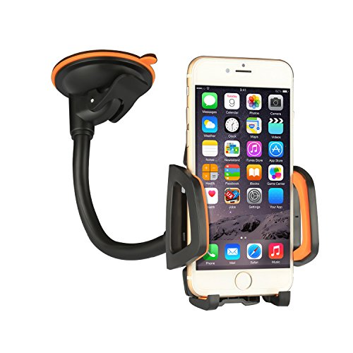Car Mount Universal Flexible 360 Rotating Windshield Cell Phone Holder Cradle with Suction Cup Car Accessories for almost Smartphone - iPhone 7 7Plus NOTE 7 S7 LG HTC up to 7 inches Device (Orange)