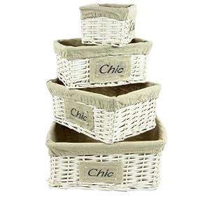 Lot 4 corbeilles CHIC : Set de 4 paniers de rangement osier en bois peint blanc, housse amovible en coton et lin 51YabAlSToL._SL500_AA300_
