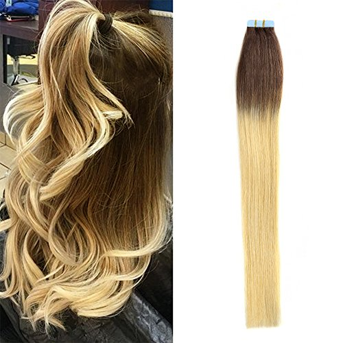 BETTY tape In Human Hair Extensions - 16 18 20 22 24 Inch 20pcs 30g-70g Set - Silky Straight Skin Weft Human Remy Hair (16in, #2/613-omber) (Hair Extentions Full Head compare prices)