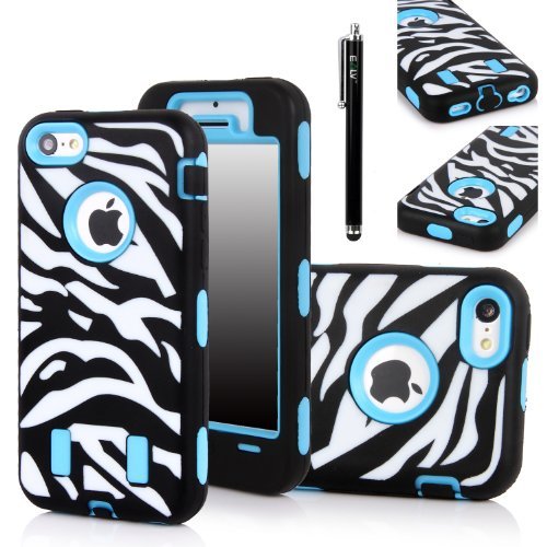Iphone 5C Case, E Lv Iphone 5C Case - Heavy Duty Rugged Dual Layer Hybrid Armor Defender Case Cover For Iphone 5C With 1 Screen Protector, 1 Black Stylus And 1 Microfiber Sticker Digital Cleaner (Apple Iphone 5C) - Zebra Blue