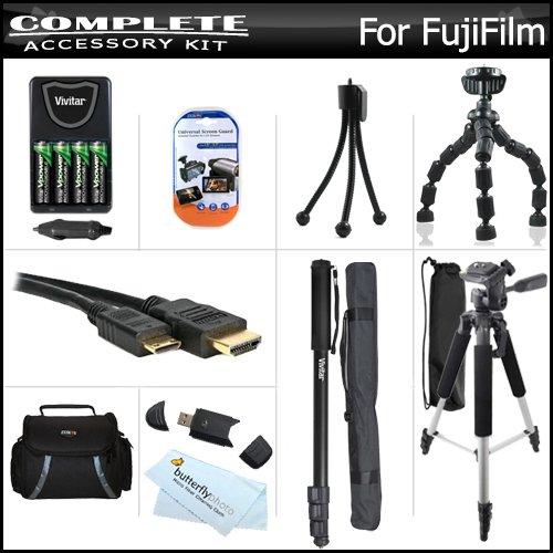 Complete Accessory Kit For Fuji Fujifilm Finepix S8200, S8300, S8400, S8500 S6700, S6800, S6900, S4600, S4700, S4800 Includes 4 AA High Capacity Rechargeable NIMH Batteries + AC/DC Rapid Charger + Case + Mini HDMI Cable + 57 Tripod + 67 Monopod + More