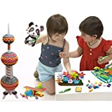 Colourful Fun Educational Magic Nuudles Corn Starch Safe Building Stacking Blocks Toy (3300 Pcs) for Kids, Toddlers Children - Perfect for improving Brain power, creativity and thinking ability of your child (boys & girls) - Cool & popular puzzles gifts for your baby - Made from the safest & high quality plastic material, making it the best brick builder game for indoor or outdoor preschool learning, teaching & education