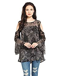 Printed Fabric With Lace Sleeves Medium