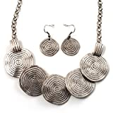 Antique Silver Hammered Disc Necklace & Drop Earrings Set